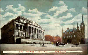 Preston-Lancashire-England-AK-1910-20-Market-Square-Markt-Platz-Kirche-Gebaeude