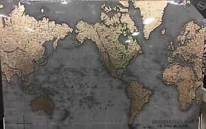 World map image grey world map picture charcoal grey two tone rose gold atlas wall canvas gumiabroncs Gallery