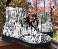 DR. MARTENS Mens Pascal Black and White Painter Leather Boots Sz 13