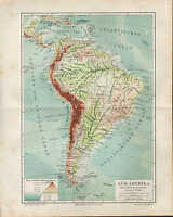 Landkarte map 1909: SÜD-AMERIKA. Fluß- Gebirgssysteme. Amazonas Pampa Atlantik