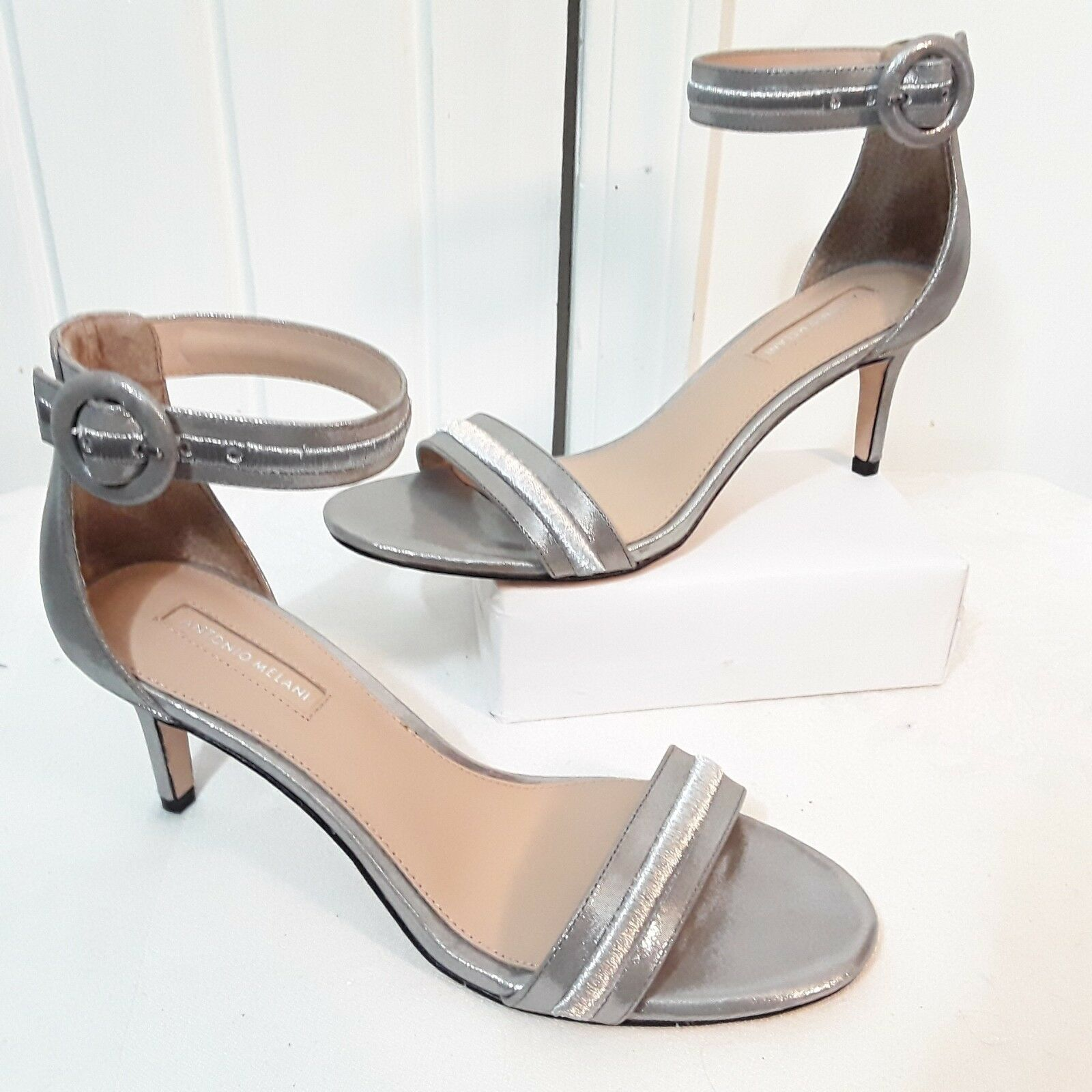 ANTONIO MELANI Womens SANDALS Sz 8 Silver High Heel Strappy Sandals