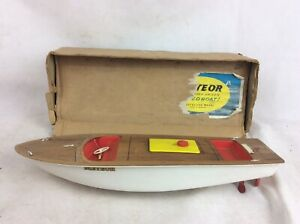Vintage-1960-Meteor-Clockwork-Driven-Toy-Speed-Boat-16in-Sutcliffe-Model-A-F