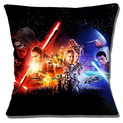 "NEW STAR WARS 'THE FORCE AWAKENS'  COLLAGE CHARACTERS 16"" Pillow Cushion Cover"
