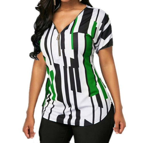 Womens Short Sleeve T Shirts Zip V-Neck Blouse Tops Casual T-Shirt Plus Size Tee