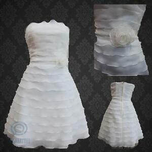 White-Ivory-Tiered-Mini-Ball-Gown-Strapless-Neck-Bridesmaid-Wedding-Party-Dress