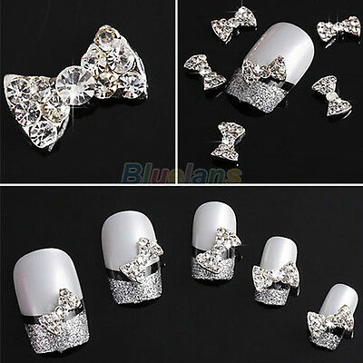 Lot 10x 3D Clear Alloy Rhinestone Bow Tie Nail Art Slices Diy Decorations PXA