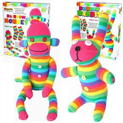 MAKE YOUR OWN RAINBOW SOCK MONKEY OR RABBIT SOFT TOY PUPPET SEWING CRAFT KIT P/W