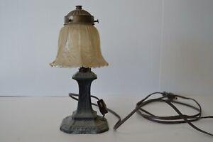 L and L WMC 9808 Harp Candlestick Trumpet Table Top Lamp Brass Vintage Starburst