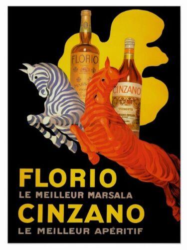 Reproduction Vintage Drinks advert poster Wall art. Florio Cinzano