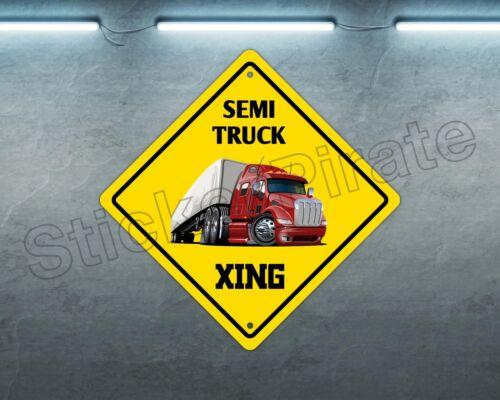 """*Aluminum* Semi Truck Crossing Funny Metal Novelty Sign 12/""""x12/"""""""