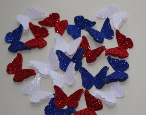 25 RED WHITE /& BLUE 3D GLITTER /& SHIMMER BUTTERFLIES.