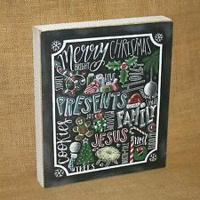 Chalk Art Christmas Word Collage Wall / Table Home Decor Primitives by Kathy