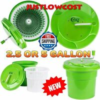 2.5 Or 5 Gallon Commercial Lettuce Salad Manual Spinner Dryer Hose Drainage