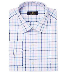 $95 Alfani Men/'S Regular-Fit Blue White Check Button Dress Shirt 15-15.5 32//33 M
