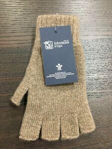 100% Cashmere Fingerless Gloves | Johnstons of Elgin | Made in Scotland | Brown