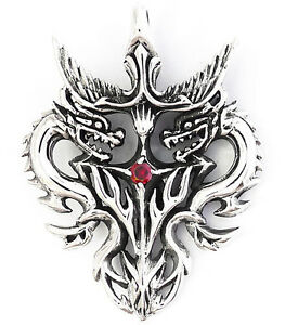 Heavy dragon heart red ruby flame tribal tattoo sterling 925 silver image is loading heavy dragon heart red ruby flame tribal tattoo mozeypictures Gallery
