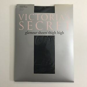 Victorias Secret Glamour Sheers Lace Top Thigh Highs Stockings Size Medium Black
