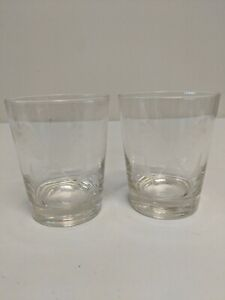 Set of 2 Vintage Etched Glass Short Tumblers - Wheat Grain Flower Barware Glass