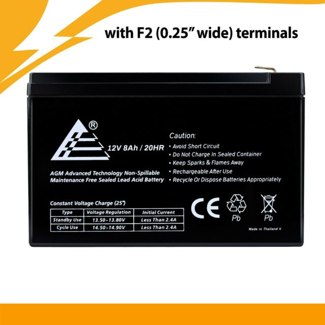 4 Pack 12V 8AH AB1280 F1 Battery Replacement for Tripplite SMART1500LCD UPS