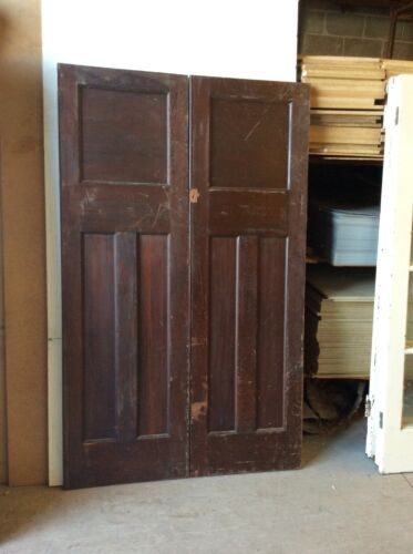 ANTIQUE THREE PANEL RED CEDAR DOOR SET