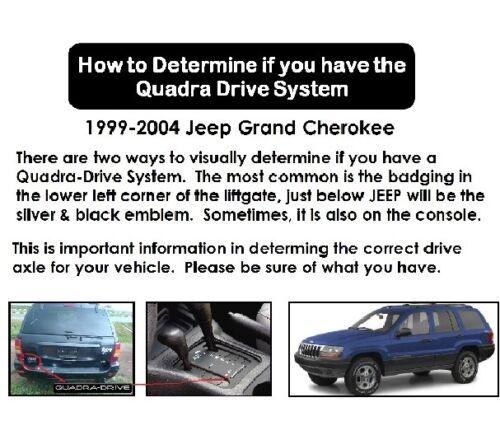 Pair 2 New Front CV Axles Fit 04-99 Jeep Grand Cherokee  Quadra Drive
