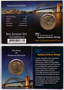 2007-Dollar-RAM-1-UNC-Coin-M-Mintmark-75th-Anniv-Sydney-Harbour-Bridge