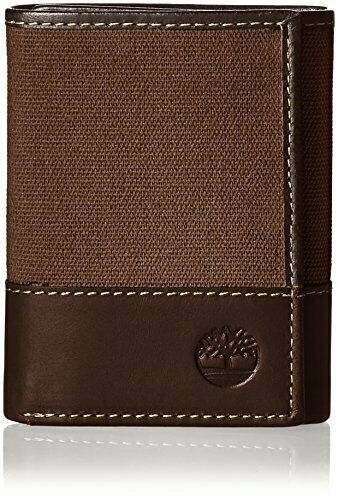 Timberland Men's Canvas & Leather Trifold Wallet Dark Earth One Size