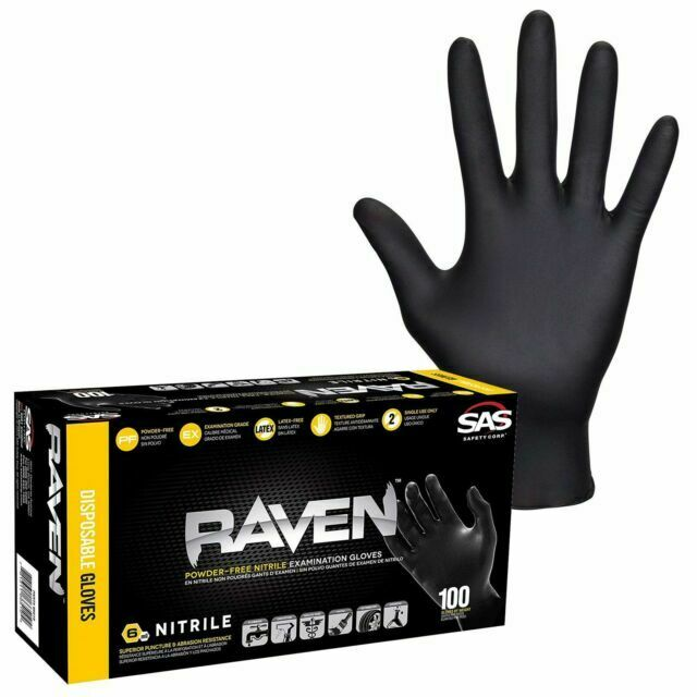 Extra Large SAS Safety 66519 Raven Powder-Free Disposable Black Nitrile 6 Mil Gloves 100 Gloves by Weight