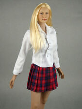 1/6 Scale Phicen, Hot Toys, Kumik & NT Female White Shirt & Red Tartan Skirt Set