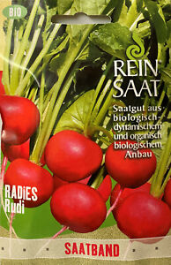 Radies Rudi - Radieschen Samen im Saatband 5 Meter - aus biologischem Anbau Bio