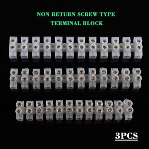 3pcs 12 Way 3A Barrier Screw Terminal Block Wire Connection Connector Strip Kit
