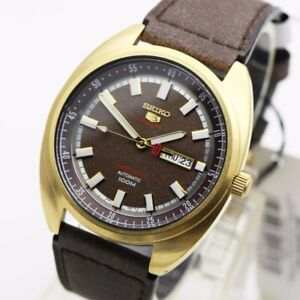 Seiko-5-Sports-Brown-Dial-Limited-Edition-Turtle-Automatic-Men-039-s-Watch