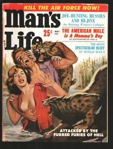 Man's Life 5/1959-woman loses shirt c bobcat attack over-cheesecake-Wells Far...