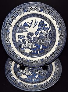 Image is loading 2-Blue-Willow-Churchill-Stafford-England-Dinner-Plates- & 2 Blue Willow Churchill Stafford England Dinner Plates Fine English ...