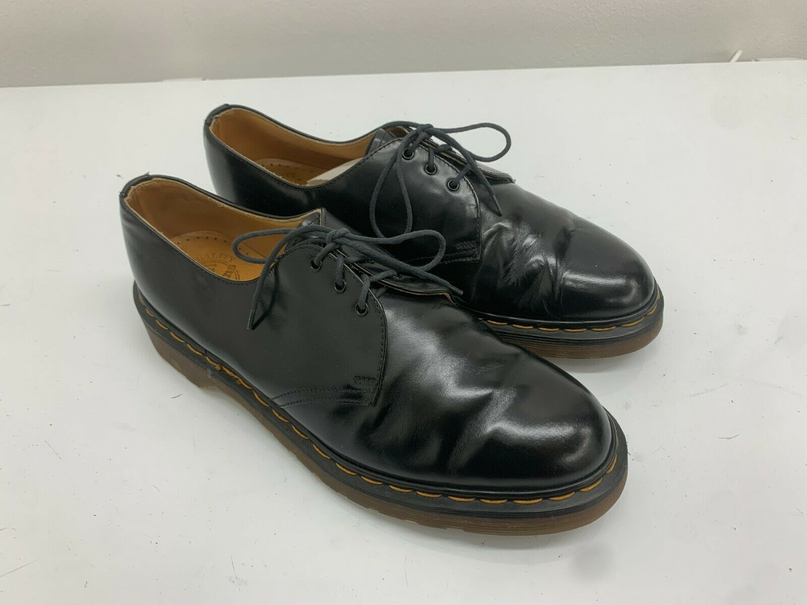 Doc Dr Martens Shoes, 3 Eyelets, Black Shiny, Size 9UK, Rare. Made In England