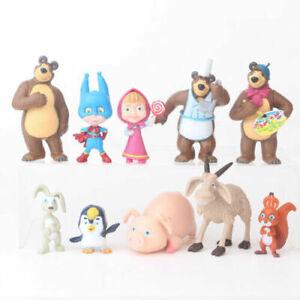 Masha-And-The-Bear-Masha-10-Pcs-Action-Figures-Toy-Dolls-Gift-Cake-Topper
