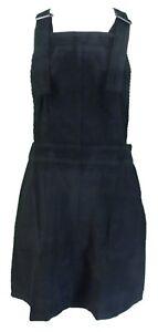 Indie Ladies Retro Cord Dress Black Pinafore 5wgqS0zPx