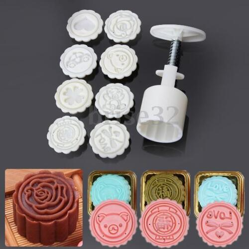 6 Pattern Mooncake Flower Stamps Moon Cake Mould Pastry Decoration Baking Tool