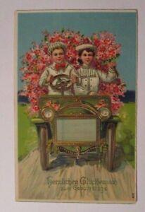 """""""Geburtstag, Auto, Kinder, Blumen"""" 1907, Golddruck ♥"""