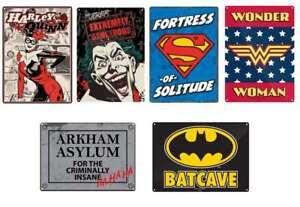 OFFICIAL DC COMICS SUPERMAN BATMAN WONDER WOMAN SMALL TIN METAL WALL SIGN PLAQUE