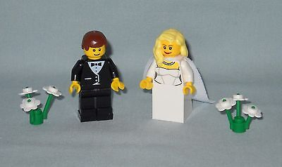 NEW LEGO WEDDING BROWN HAIR BRIDE WITH TRAIN AND GROOM MINIFIGURES FOR CAKE