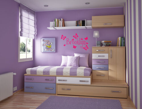 Personalized Butterflies Name removable vinyl wall decal