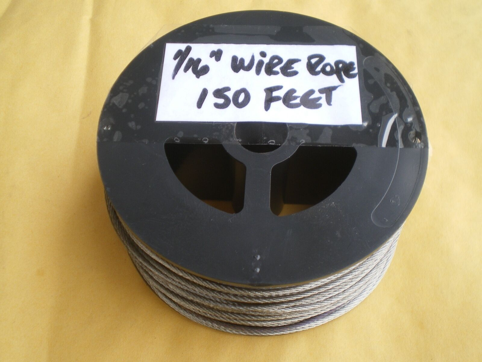 STAINLESS STEEL 1 16  WIRE ROPE 150 FEET, 400 LBS TEST 7X7 STRAND+50 SLEEVES