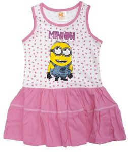 788c40d0651 Details about Girls Despicable Me Minions Polka Hearts Sleeveless Summer  Sun Dress 3 - 8 Years