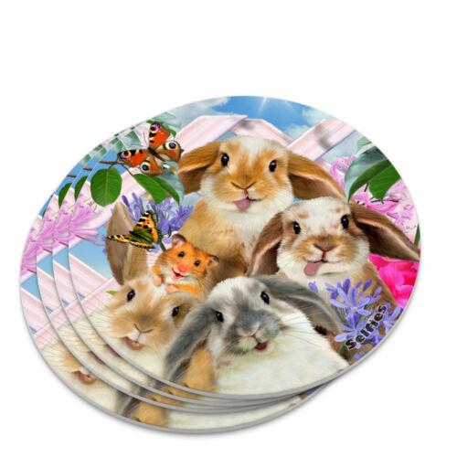 Rabbits Bunnies Hampster Backyard Flower Selfie Novelty Coaster Set