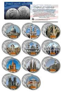 FAMOUS-CHURCHES-OF-THE-WORLD-Colorized-JFK-Kennedy-Half-Dollar-U-S-11-Coin-Set
