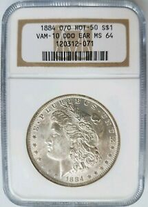 1884-O-O-Silver-Morgan-Dollar-NGC-MS-64-Vam-10-DDO-EAR-Old-Holder-Mint-Error