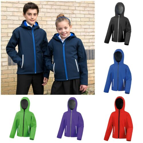 Childrens Softshell Waterproof Jacket Hooded School Coat Windproof Boys Girls