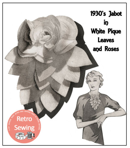 1930/'s Pretty Flower Jabot Pattern and Instructions to make