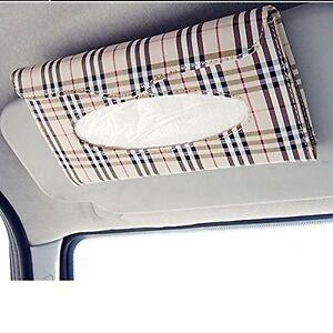 Car Auto Accessories Sun Visor Tissue Paper Holder Clip Tan Leather Wallet